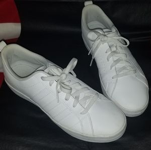 Adidas All White 3 Stripe Shoes